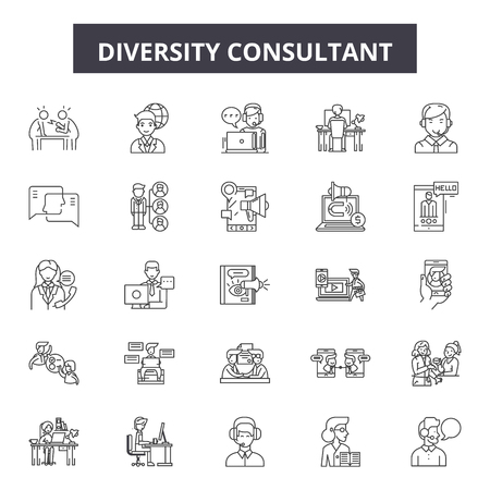 Ilustración de Diversity consultant line icons, signs set, vector. Diversity consultant outline concept illustration: concept,diversity,team,man,business,person,people - Imagen libre de derechos