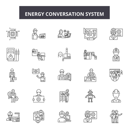 Ilustración de Energy conversation system line icons, signs set, vector. Energy conversation system outline concept illustration: energy,system,technology,internet,home,communication,future,modern - Imagen libre de derechos