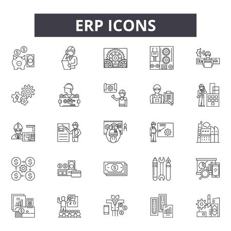 Illustration pour Erp line icons, signs set, vector. Erp outline concept illustration: business,erp,data,service,success,software,sales,information - image libre de droit