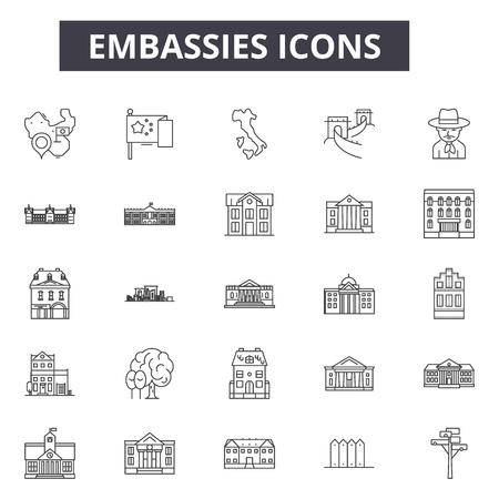Illustration pour Embassies line icons, signs set, vector. Embassies outline concept illustration: embassy,business,building,government,university - image libre de droit