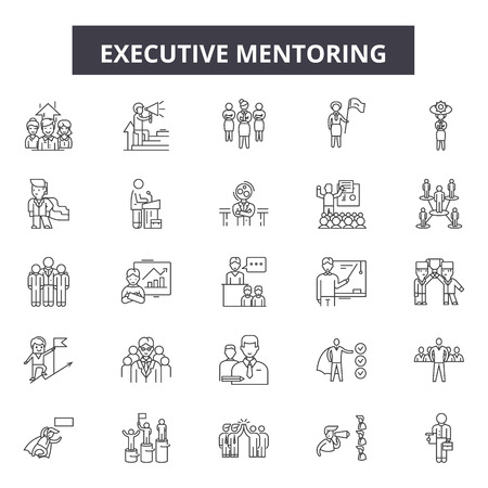 Illustration pour Executive mentoring line icons, signs set, vector. Executive mentoring outline concept illustration: mentor,executive,people,business,education,leadership,businessman,manager - image libre de droit
