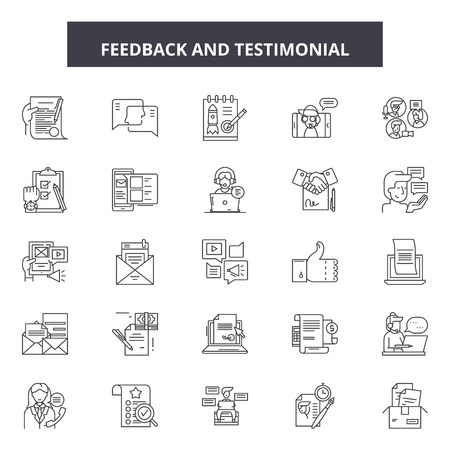 Ilustración de Feedback testimonial line icons, signs set, vector. Feedback testimonial outline concept illustration: feedback,opinion,comment,business,web,concept,symbol - Imagen libre de derechos