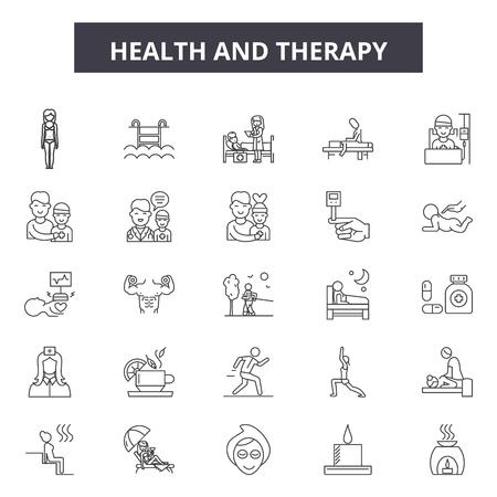 Illustration pour Health and therapy line icons, signs set, vector. Health and therapy outline concept illustration: health,therapy,medical,medicine,man,care,symbol - image libre de droit