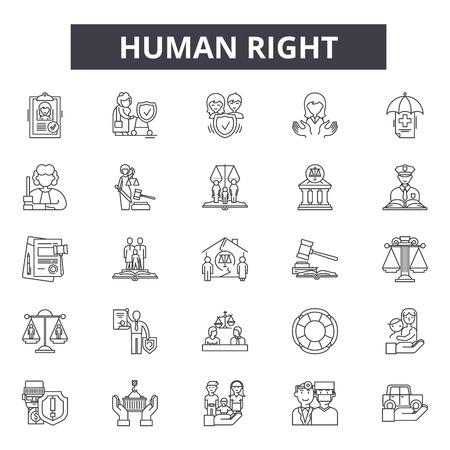 Illustration pour Human right line icons, signs set, vector. Human right outline concept illustration: human,deconcept,people,hand - image libre de droit