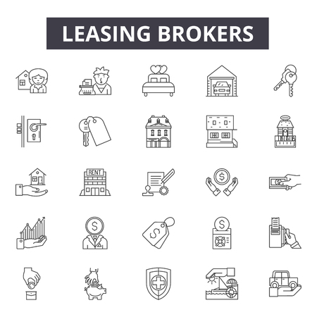 Illustration pour Leasing brokers line icons, signs set, vector. Leasing brokers outline concept illustration: property,broker,building,lease,home,house,business,investment,real - image libre de droit