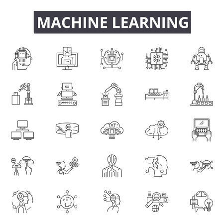 Ilustración de Machine learning system line icons, signs set, vector. Machine learning system outline concept illustration: system,data,technology,machine,intelligence,learning,science,information,business - Imagen libre de derechos
