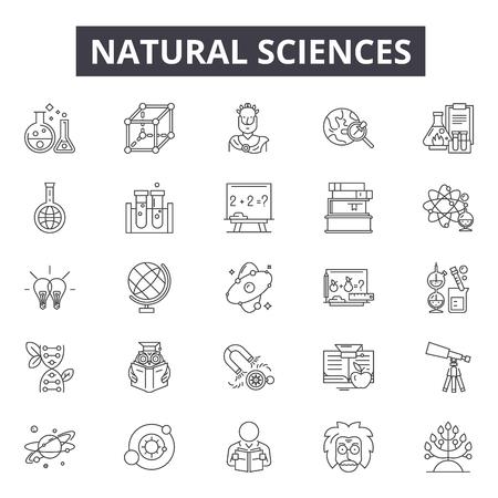 Ilustración de Natural sciences line icons, signs set, vector. Natural sciences outline concept illustration: science,nature,chemistry,research,technology,natural - Imagen libre de derechos