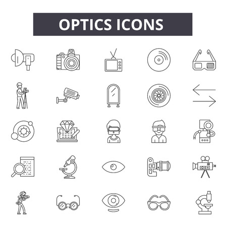 Illustration pour Optics line icons, signs set, vector. Optics outline concept illustration: optic,technology,optical,information,connection,isolated,fiber,network - image libre de droit