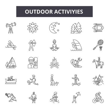 Ilustración de Outdoor activities line icons, signs set, vector. Outdoor activities outline concept illustration: activity,hiking,mountain,travel,summer,recreation,leisure - Imagen libre de derechos