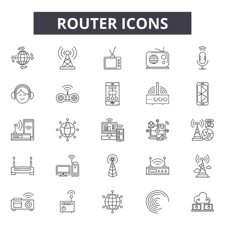 Ilustración de Router line icons, signs set, vector. Router outline concept illustration: router,internet,wireless,technology,web,network,communication - Imagen libre de derechos