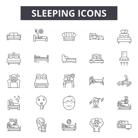 Illustration pour Slleping line icons, signs set, vector. Slleping outline concept illustration: nose,cute,outmodern,degraphic,human,elegant - image libre de droit