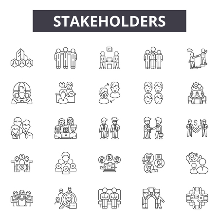 Illustration pour Stakeholders line icons, signs set, vector. Stakeholders outline concept illustration: business,management,stakeholder,interaction,relationship,outdevelopment,service - image libre de droit