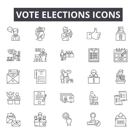 Illustration pour Vote elections line icons, signs set, vector. Vote elections outline concept illustration: voting,government,election,political,ballot,politics,box,vote - image libre de droit