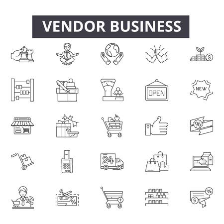 Illustrazione per Vendor business line icons, signs set, vector. Vendor business outline concept illustration: business,vendor,shop,market,store,retail,background - Immagini Royalty Free