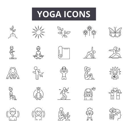 Ilustración de Yoga line icons, signs set, vector. Yoga outline concept illustration: yoga,body,exercise,health,relaxation,fitness,lifestyle,sport,meditation - Imagen libre de derechos
