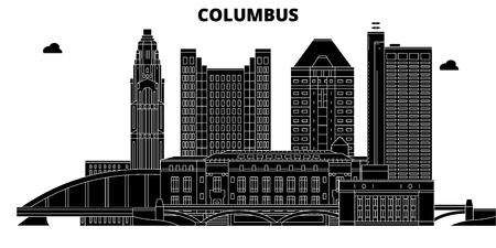 Illustration pour Columbus , United States, outline travel skyline vector illustration - image libre de droit