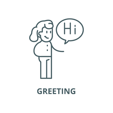 Illustration for Greeting vector line icon, outline concept, linear sign - Royalty Free Image