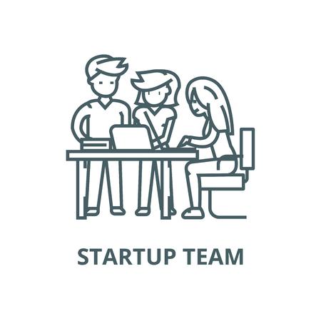 Illustration pour Startup office team,man and women  vector line icon, outline concept, linear sign - image libre de droit