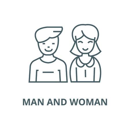 Ilustración de Man and woman, vector line icon, outline concept, linear sign - Imagen libre de derechos