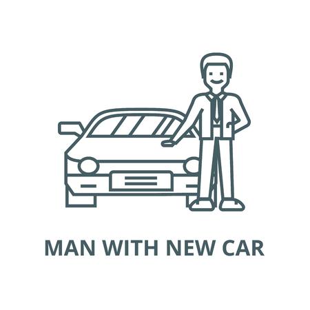 Illustration pour Man with new car,auto  vector line icon, outline concept, linear sign - image libre de droit