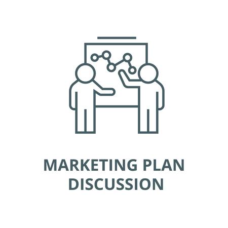 Illustration pour Marketing plan discussion vector line icon, outline concept, linear sign - image libre de droit