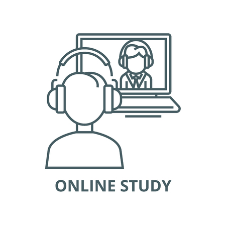 Illustration pour Online interview,study,school vector line icon, outline concept, linear sign - image libre de droit