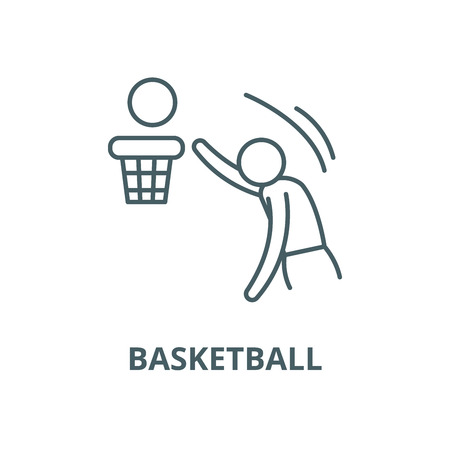 Ilustración de Basketball vector line icon, outline concept, linear sign - Imagen libre de derechos