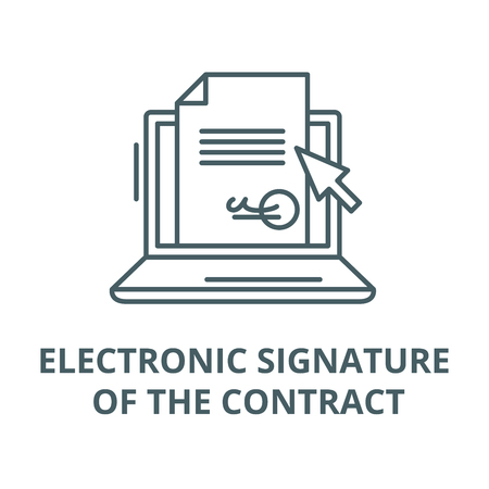 Illustration for Electronic signature of the contract vector line icon, outline concept, linear sign - Royalty Free Image