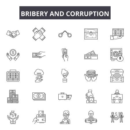 Illustration pour Bribery and corruption line icons, signs, vector set, outline concept, linear illustration - image libre de droit