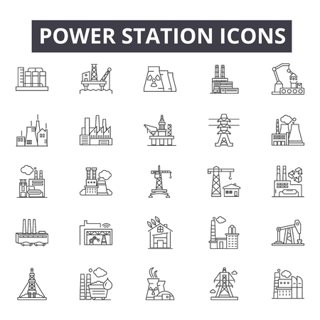 Ilustración de Power station line icons, signs, vector set, outline concept, linear illustration - Imagen libre de derechos