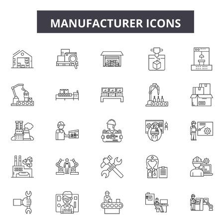 Illustration pour Manufacturer line icons, signs, vector set, outline concept, linear illustration - image libre de droit