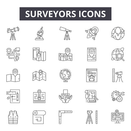 Illustration for Surveyors line icons, signs, vector set, outline concept, linear illustration - Royalty Free Image