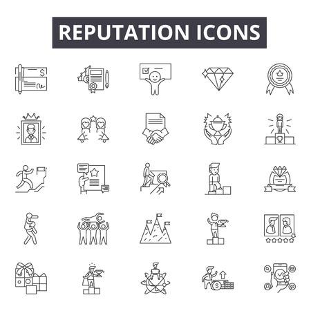 Ilustración de Reputation line icons, signs, vector set, linear concept, outline illustration - Imagen libre de derechos