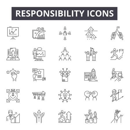 Illustration pour Responsibility line icons, signs, vector set, linear concept, outline illustration - image libre de droit