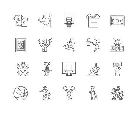 Ilustración de Basketball line icons, linear signs, vector set, outline concept illustration - Imagen libre de derechos