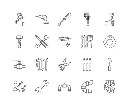 Illustration pour Bolts, nuts, screw, rivets & washers line icons, linear signs, vector set, outline concept illustration - image libre de droit