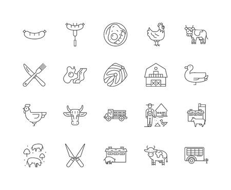 Ilustración de Butchery line icons, linear signs, vector set, outline concept illustration - Imagen libre de derechos