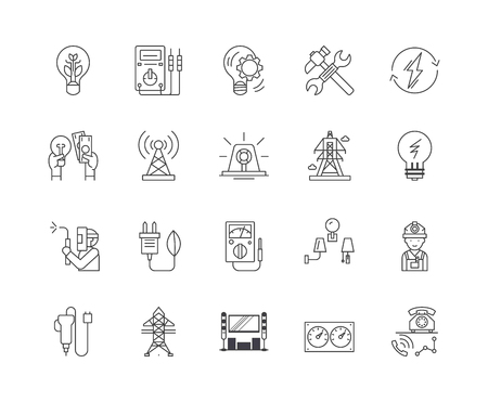 Illustrazione per Electric services line icons, linear signs, vector set, outline concept illustration - Immagini Royalty Free