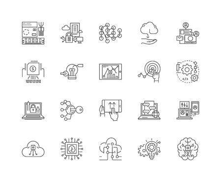 Ilustración de Hitech business line icons, linear signs, vector set, outline concept illustration - Imagen libre de derechos