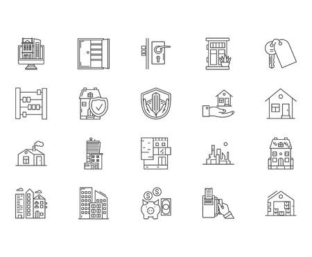 Illustration pour Houses to rent line icons, linear signs, vector set, outline concept illustration - image libre de droit
