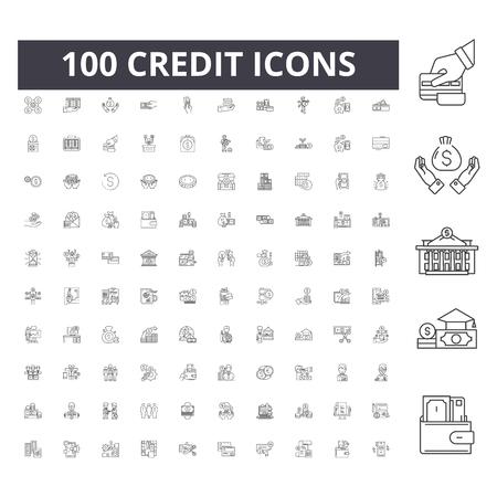 Illustration pour Credit line icons, signs, vector set, outline concept illustration - image libre de droit
