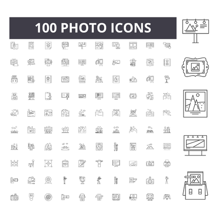 Ilustración de Photo line icons, signs, vector set, outline concept illustration - Imagen libre de derechos
