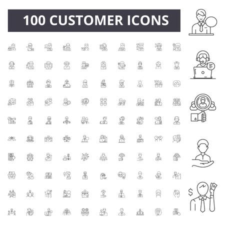 Ilustración de Customer line icons, signs, vector set, outline concept illustration - Imagen libre de derechos