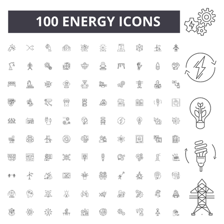 Ilustración de Energy line icons, signs, vector set, outline concept illustration - Imagen libre de derechos