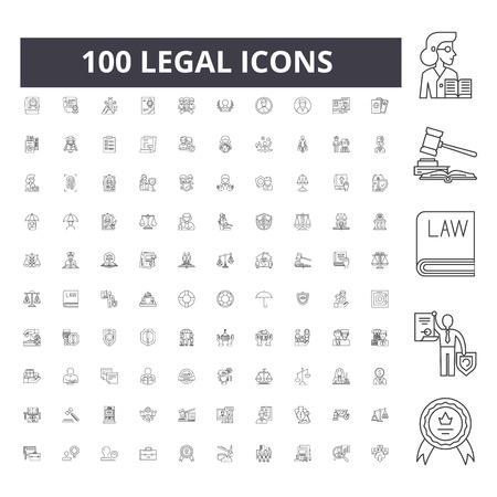 Illustration pour Legal line icons, signs, vector set, outline concept illustration - image libre de droit