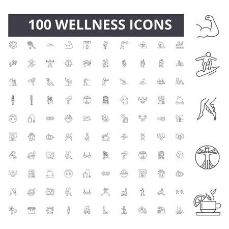 Illustration pour Wellness line icons, signs, vector set, outline concept illustration - image libre de droit