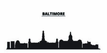 Illustration pour United States, Baltimore City city skyline isolated vector illustration. United States, Baltimore City travel cityscape with landmarks - image libre de droit
