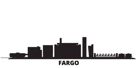 Illustration pour United States, Fargo city skyline isolated vector illustration. United States, Fargo travel cityscape with landmarks - image libre de droit