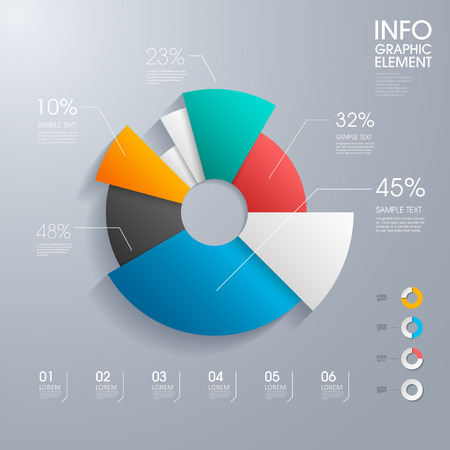 Ilustración de modern vector abstract pie chart infographic elements.can be used for workflow layout, diagram, number options, web design.  illustration ,EPS10 - Imagen libre de derechos