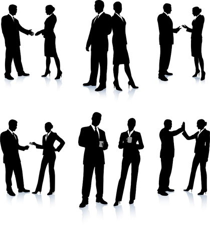 Ilustración de Business Team Silhouette Collection Original Vector Illustration People Silhouette Sets - Imagen libre de derechos